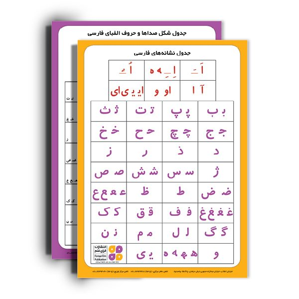 جدول نشانه های فارسی اول دبستان